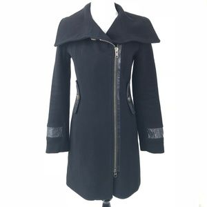 Mackage Black Wool Cashmere Coat Leather Trim